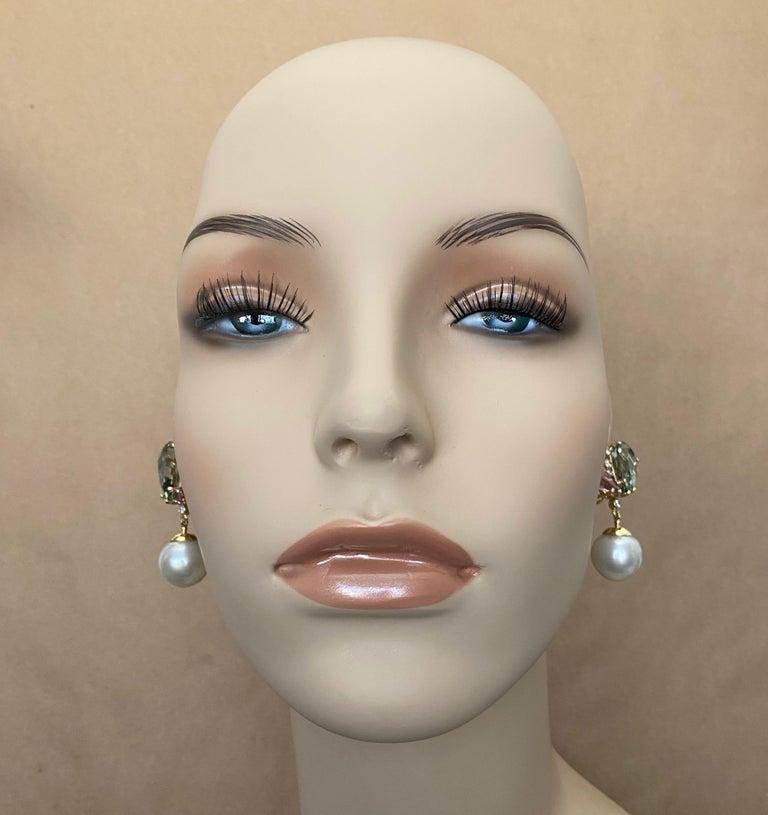 Women's Michael Kneebone Kunzite Hiddenite Diamond South Seas Pearl Dangle Earrings