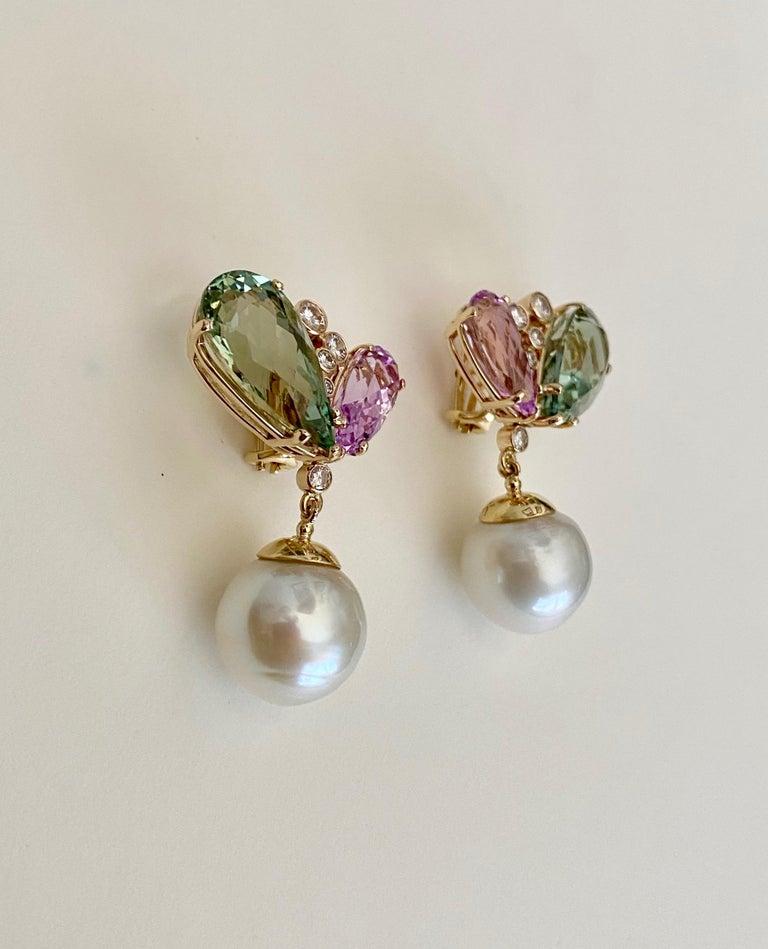 Michael Kneebone Kunzite Hiddenite Diamond South Seas Pearl Dangle Earrings 1