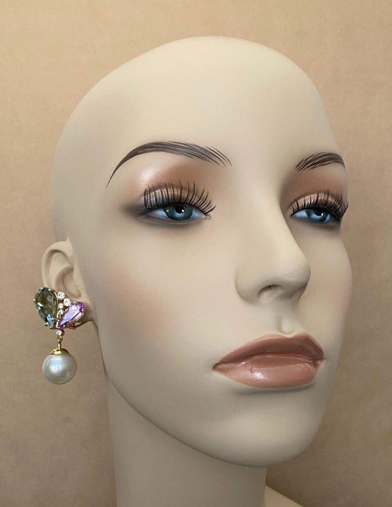 Michael Kneebone Kunzite Hiddenite Diamond South Seas Pearl Dangle Earrings 2