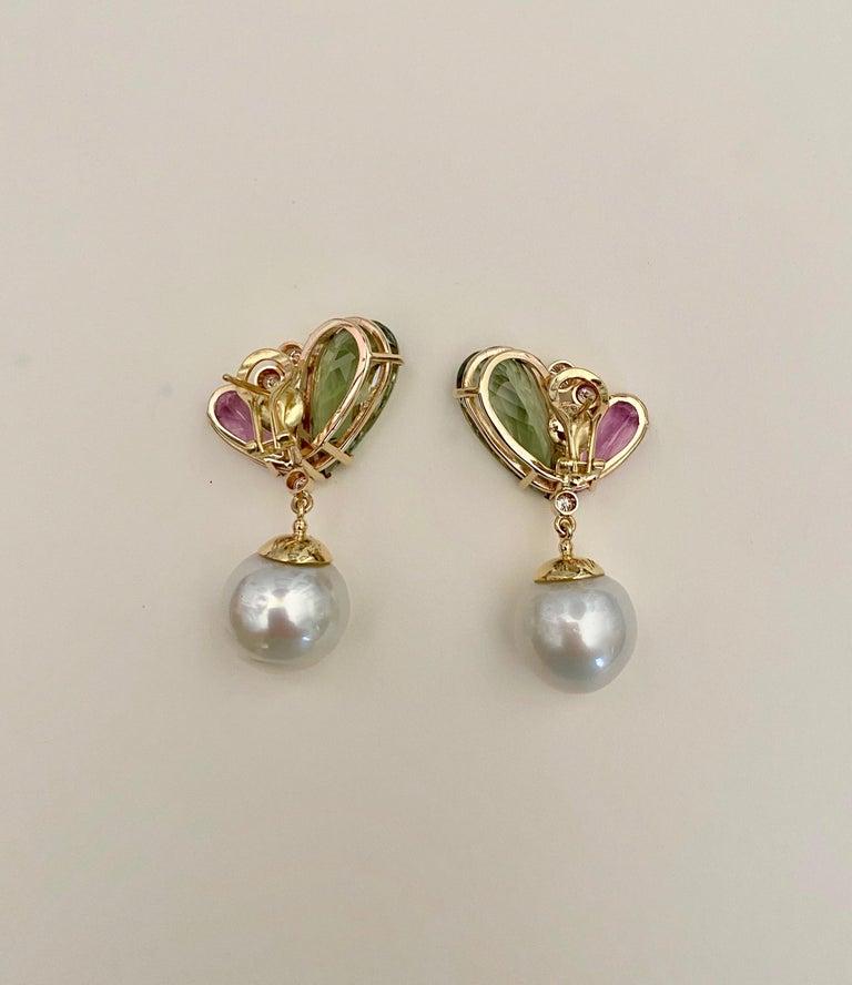 Michael Kneebone Kunzite Hiddenite Diamond South Seas Pearl Dangle Earrings 3