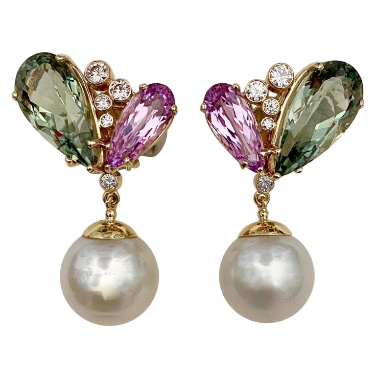 Michael Kneebone Kunzite Hiddenite Diamond South Seas Pearl Dangle Earrings