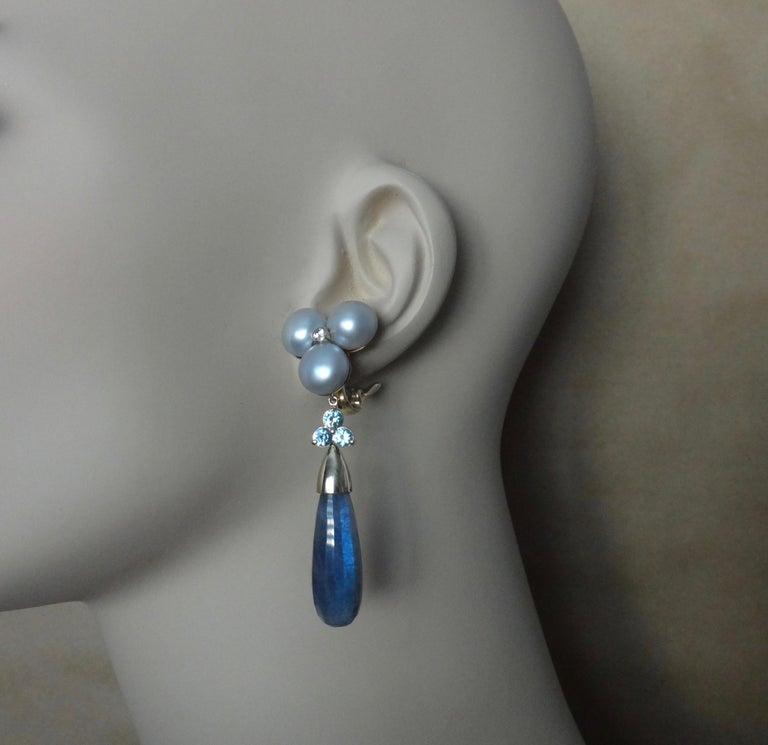 Michael Kneebone Labradorite Zircon Gray Pearl Diamond Dangle Earrings In New Condition For Sale In Rancho Mirage, CA