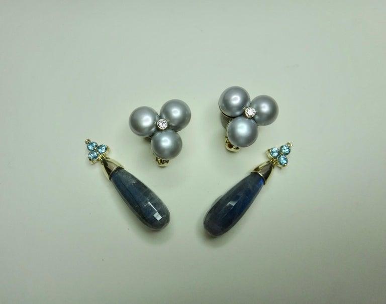 Women's Michael Kneebone Labradorite Zircon Gray Pearl Diamond Dangle Earrings For Sale