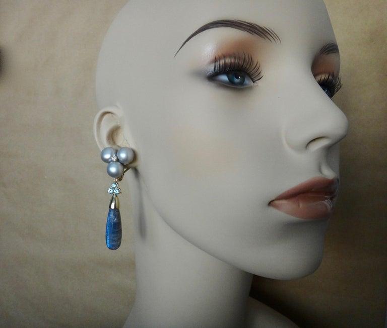 Michael Kneebone Labradorite Zircon Gray Pearl Diamond Dangle Earrings For Sale 1