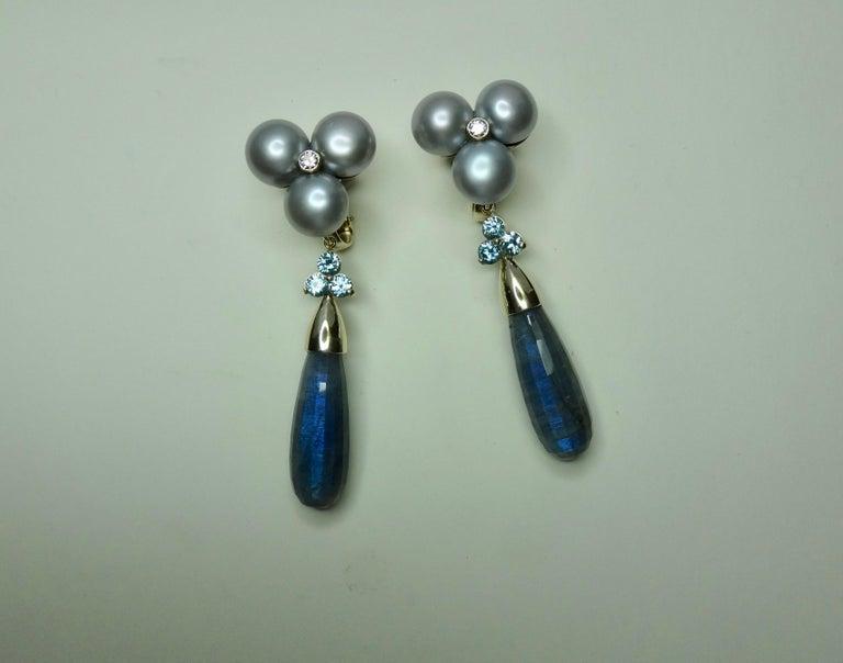 Michael Kneebone Labradorite Zircon Gray Pearl Diamond Dangle Earrings For Sale 2