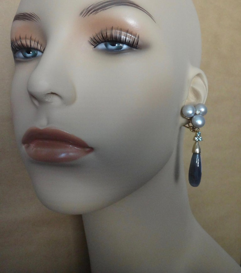 Michael Kneebone Labradorite Zircon Gray Pearl Diamond Dangle Earrings For Sale 3