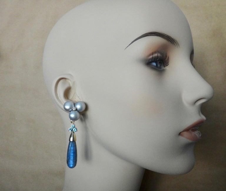 Michael Kneebone Labradorite Zircon Gray Pearl Diamond Dangle Earrings For Sale 4