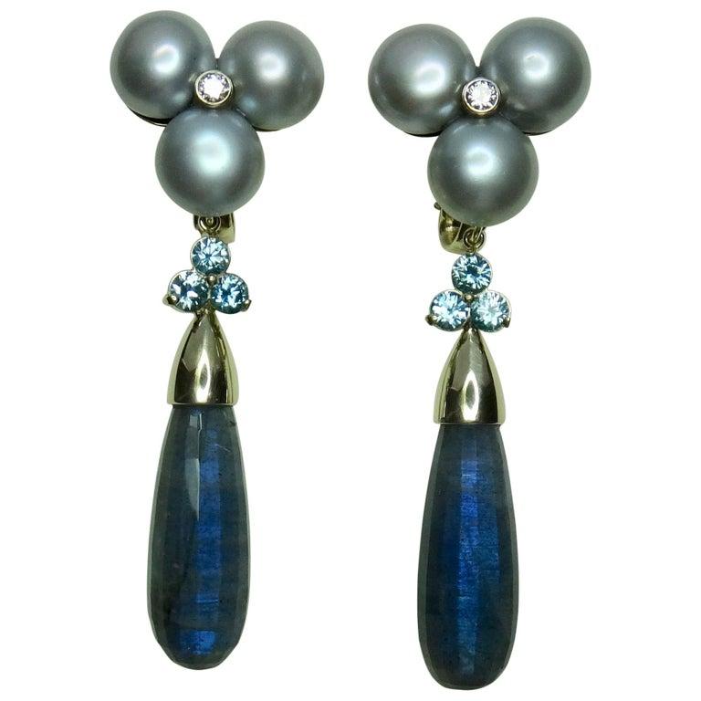 Michael Kneebone Labradorite Zircon Gray Pearl Diamond Dangle Earrings For Sale