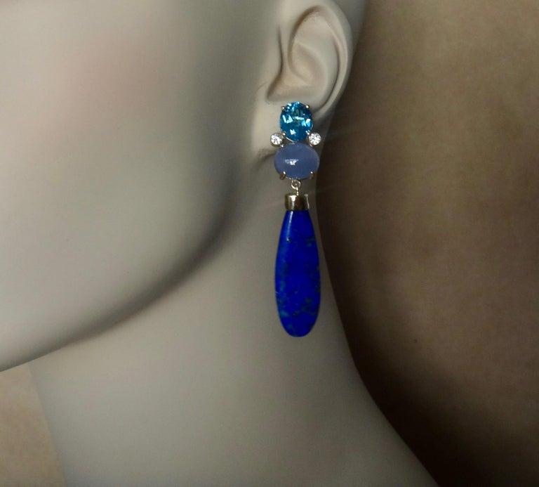 Michael Kneebone Lapis Lazuli Blue Topaz Chalcedony Diamond Dangle Earrings For Sale 5