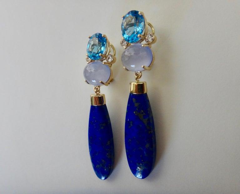 Contemporary Michael Kneebone Lapis Lazuli Blue Topaz Chalcedony Diamond Dangle Earrings For Sale