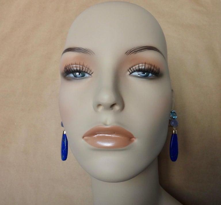 Michael Kneebone Lapis Lazuli Blue Topaz Chalcedony Diamond Dangle Earrings In New Condition For Sale In Rancho Mirage, CA