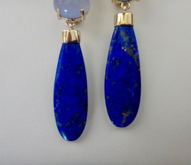 Women's Michael Kneebone Lapis Lazuli Blue Topaz Chalcedony Diamond Dangle Earrings For Sale