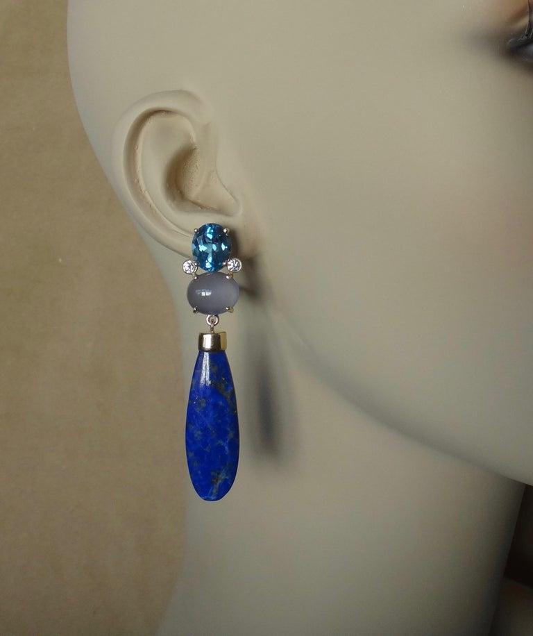 Michael Kneebone Lapis Lazuli Blue Topaz Chalcedony Diamond Dangle Earrings For Sale 1