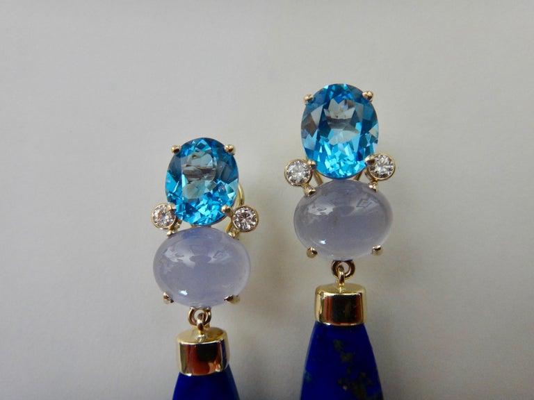 Michael Kneebone Lapis Lazuli Blue Topaz Chalcedony Diamond Dangle Earrings For Sale 2