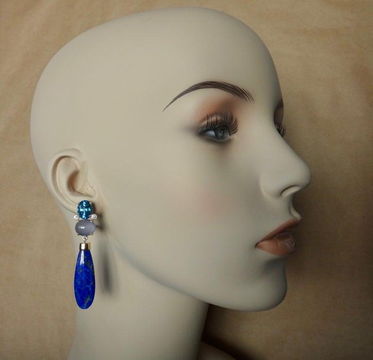Michael Kneebone Lapis Lazuli Blue Topaz Chalcedony Diamond Dangle Earrings For Sale 3