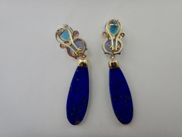 Michael Kneebone Lapis Lazuli Blue Topaz Chalcedony Diamond Dangle Earrings For Sale 4