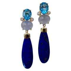 Michael Kneebone Lapis Lazuli Blue Topaz Chalcedony Diamond Dangle Earrings