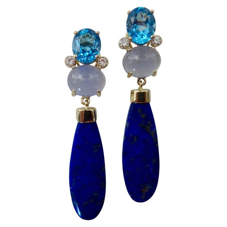 Michael Kneebone Lapis Lazuli Blue Topaz Chalcedony Diamond Dangle Earrings For Sale