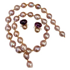 Michael Kneebone Lavender Pearl Necklace Amethyst Diamond Pearl Earring Suite