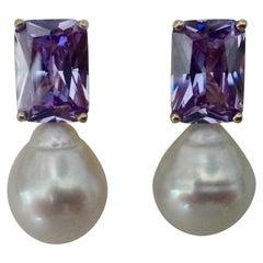 Michael Kneebone Lavender Zircon Paspaley South Seas Pearl Drop Earrings
