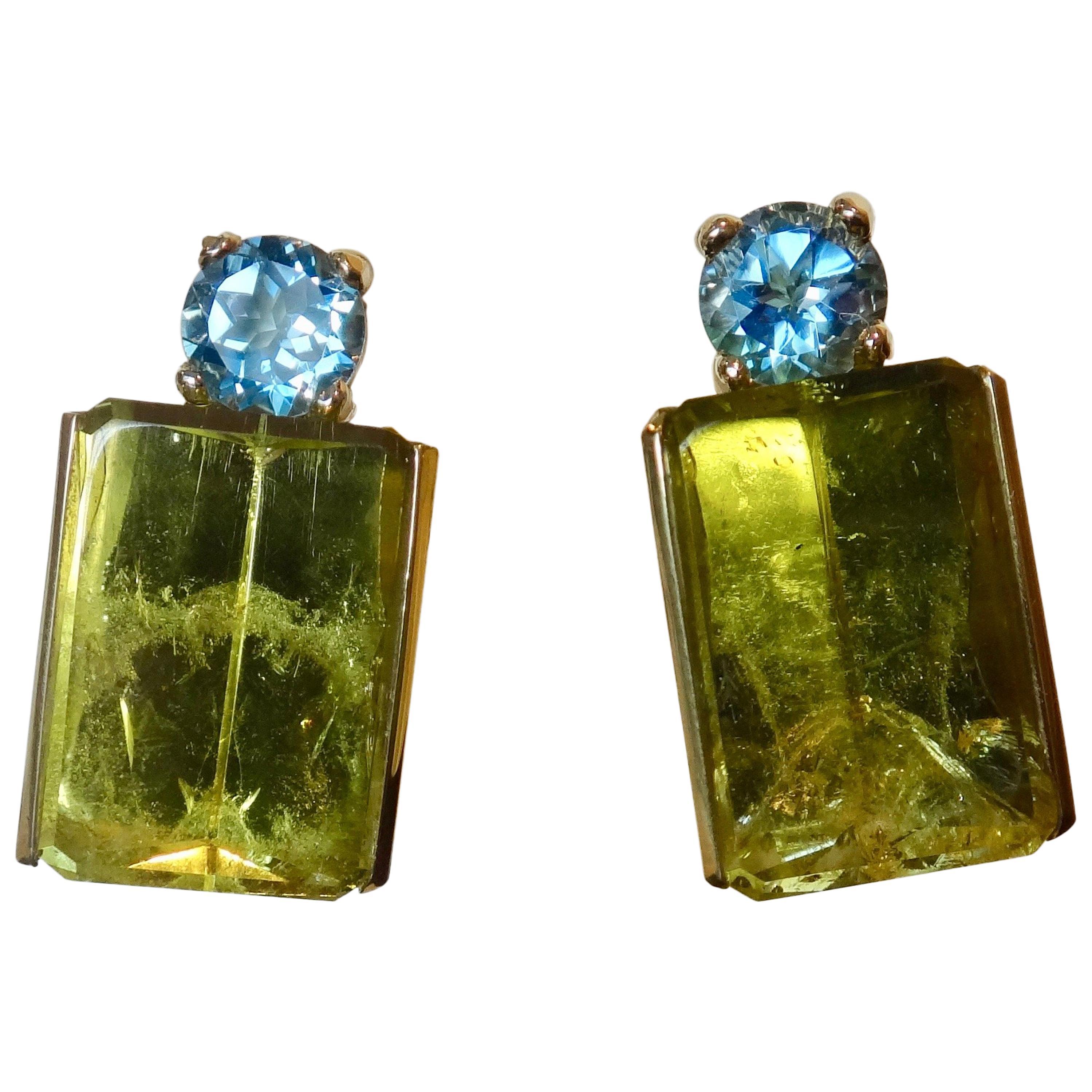 Michael Kneebone Lemon Citrine Blue Topaz Geometric Drop Earrings