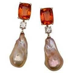 Michael Kneebone Madeira Citrine Sapphire Baroque Pearl Dangle Earrings