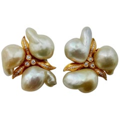 Michael Kneebone Maluku Pearl White Diamond Cluster Earrings