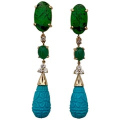 Michael Kneebone Maw Sit Sit Jade Emerald Turquoise Diamond Dangle Earrings