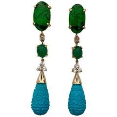 Michael Kneebone Maw Sit Sit Jade Emerald Turquoise Diamond Dangle Earrings