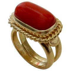 Michael Kneebone Mediterranean Red Coral 18 Karat Gold Ring