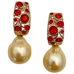 Michael Kneebone Mexican Fire Opal Golden South Seas Pearl Drop Earrings
