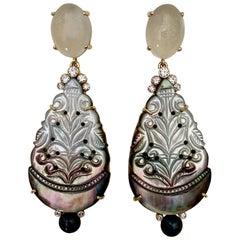 Michael Kneebone Moonstone Diamond Mother of Pearl Black Pearl Dangle Earrings