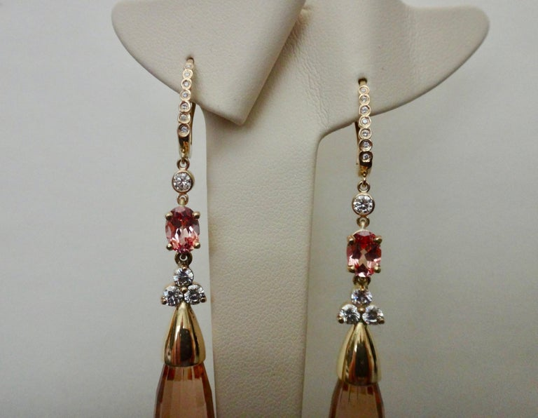 Michael Kneebone Morganite Padparadscha Sapphire Diamond Dangle Earrings For Sale 6