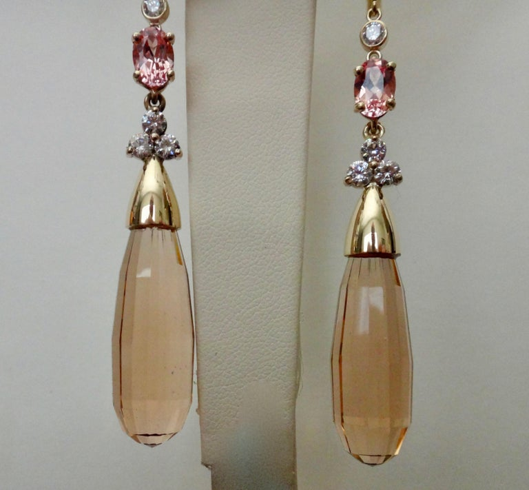 Women's Michael Kneebone Morganite Padparadscha Sapphire Diamond Dangle Earrings For Sale