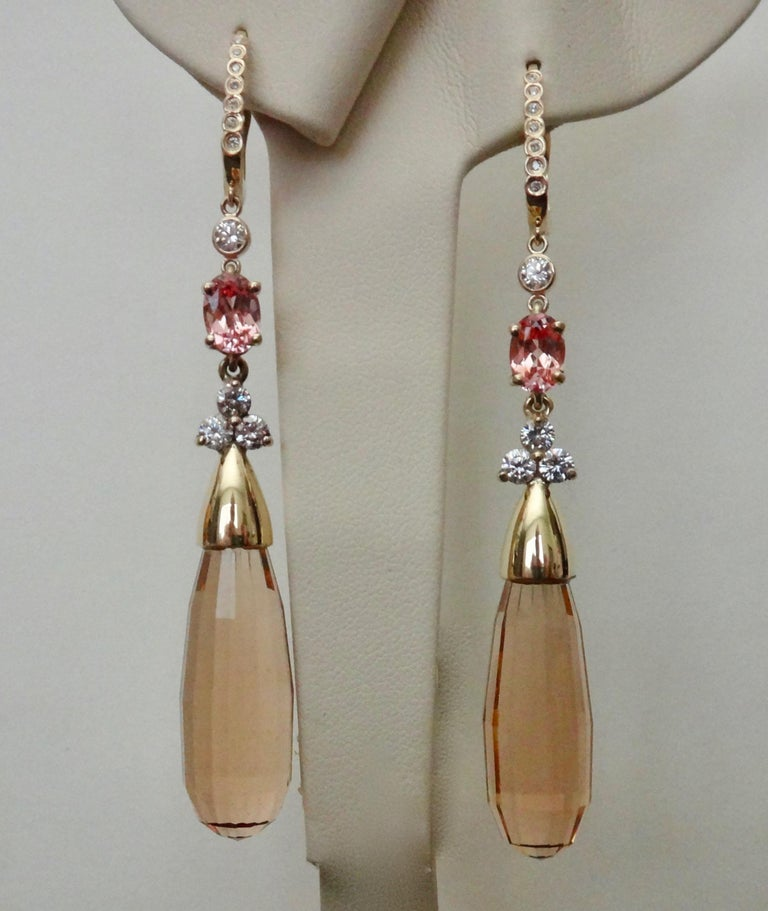 Michael Kneebone Morganite Padparadscha Sapphire Diamond Dangle Earrings For Sale 4