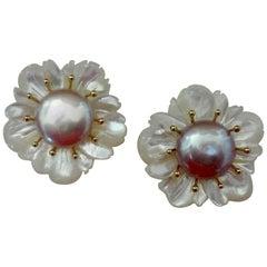 Michael Kneebone Mother-of-Pearl Coin Pearl 18 Karat Gold Flower Earrings