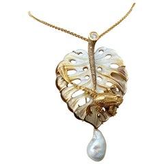 Michael Kneebone Mother of Pearl Mixed Gemstone Frog on Leaf Pendant