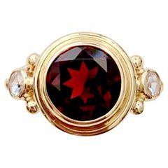 Michael Kneebone Mozambique Garnet Rose Cut Diamond Archaic Style Ring