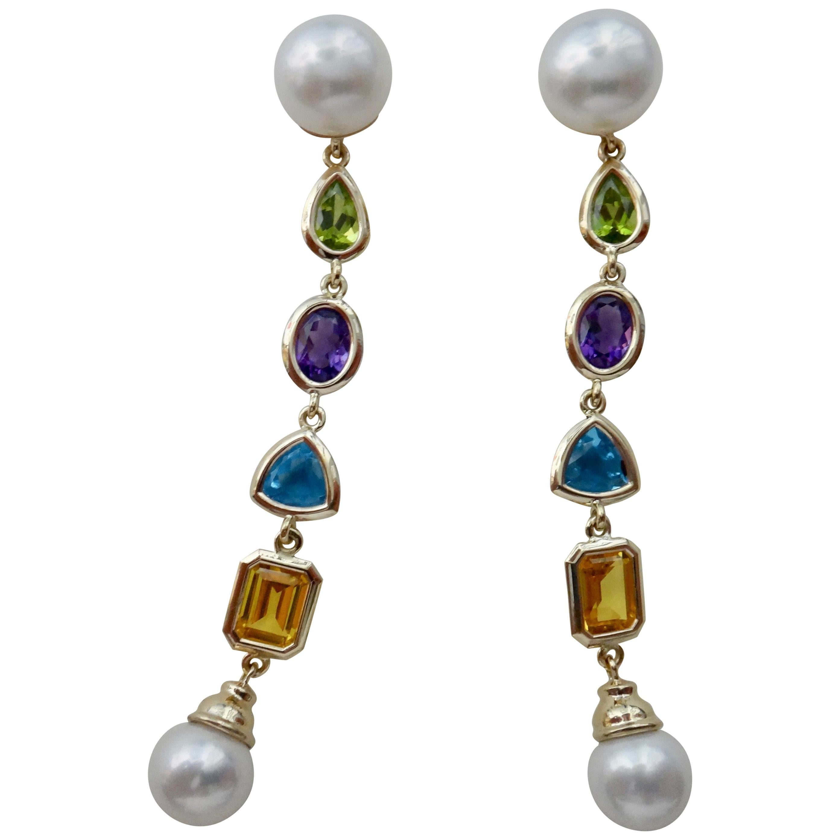 Michael Kneebone Multi-Gemstone Paspaley South Seas Pearl Dangle Earrings