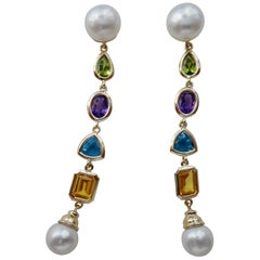 Michael Kneebone Multi-Gemstone Paspaley South Seas Pearl Dangle Earrings