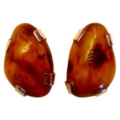 Michael Kneebone Nugget Baltic Amber Rose Gold Button Earrings