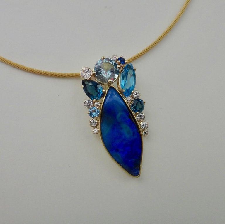 Contemporary Michael Kneebone Opal Topaz Aquamarine Sapphire Diamond Confetti Pendant For Sale