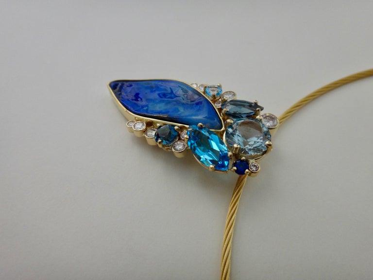 Michael Kneebone Opal Topaz Aquamarine Sapphire Diamond Confetti Pendant In New Condition For Sale In Rancho Mirage, CA