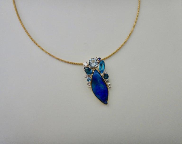 Women's Michael Kneebone Opal Topaz Aquamarine Sapphire Diamond Confetti Pendant For Sale
