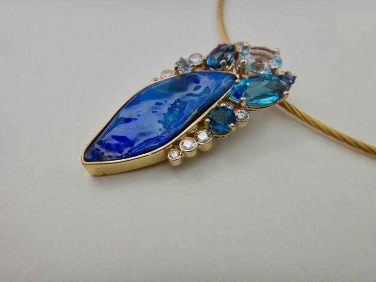 Michael Kneebone Opal Topaz Aquamarine Sapphire Diamond Confetti Pendant For Sale 1