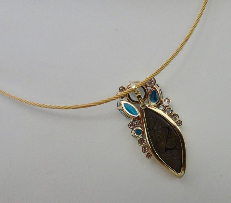 Michael Kneebone Opal Topaz Aquamarine Sapphire Diamond Confetti Pendant For Sale 3