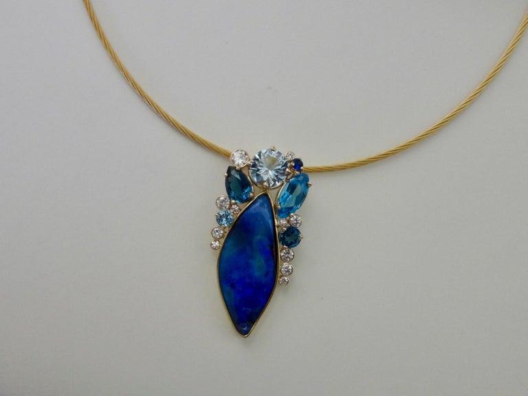 Michael Kneebone Opal Topaz Aquamarine Sapphire Diamond Confetti Pendant For Sale 4