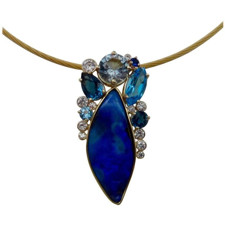 Michael Kneebone Opal Topaz Aquamarine Sapphire Diamond Confetti Pendant For Sale