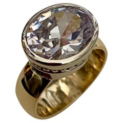 Michael Kneebone Oval Cut White Sapphire Two-Tone 18 Karat Leah Ring
