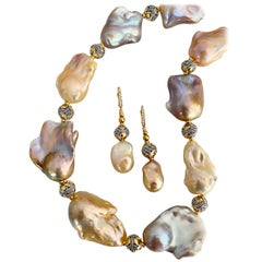 Michael Kneebone Pastel Baroque Pearl Granulated Bead Necklace Earring Suite